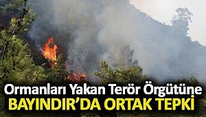 Ormanları Yakan Terör Örgütüne Bayındır'da Ortak Tepki
