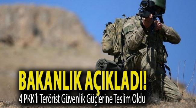 Bakanlık açıkladı! 4 PKK'lı terörist güvenlik güçlerine teslim oldu