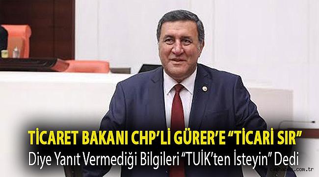 """Ticaret Bakanı CHP'li Gürer'e""""ticari sır"""" diye yanıt vermediği bilgileri """"TUİK'ten isteyin"""" dedi"""