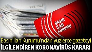Basın İlan Kurumu'ndan yüzlerce gazeteyi ilgilendiren koronavirüs kararı