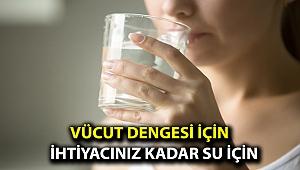 Vücut dengesi için ihtiyacınız kadar su için!