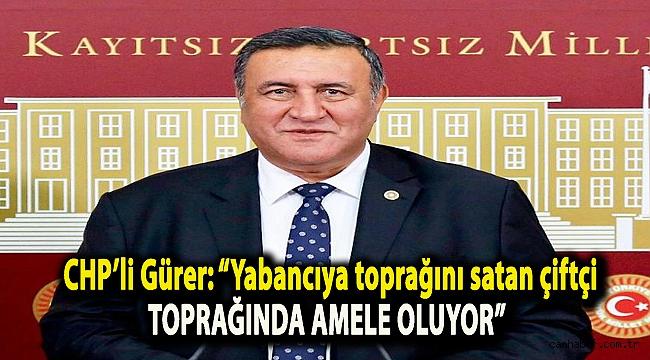 """CHP'li Gürer: """"Yabancıya toprağını satan çiftçi toprağında amele oluyor"""""""