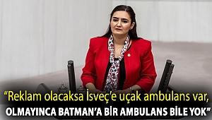 "CHP İzmir Milletvekili Av. Sevda Erdan Kılıç: ""Reklam olacaksa İsveç'e uçak ambulans var, olmayınca Batman'a bir ambulans bile yok"""