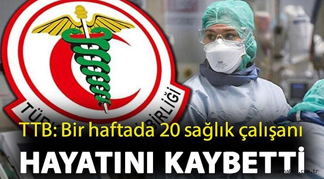 TTB: Bir haftada 20 sağlık çalışanı hayatını kaybetti