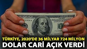 Türkiye, 2020'de 36 milyar 724 milyon dolar cari açık verdi