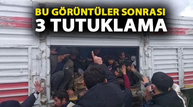 Kaza yapan TIR'da balık istifi 114 kaçak göçmen taşınmasına 3 tutuklama