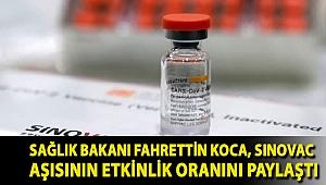 Sağlık Bakanı Fahrettin Koca, Sinovac aşısının etkinlik oranını paylaştı
